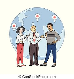 global, globe, conversation, -, dessin animé, fond, association, bannière, gens, international