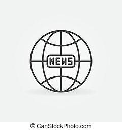 global, globo, esboço, linear, sinal terra, vetorial, notícia, icon.