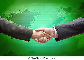 global, grün, karten geben