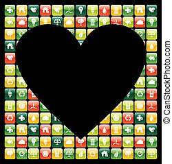 Global green mobile phone apps love - Heart shape over...