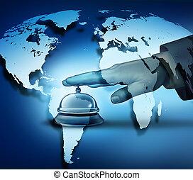 global, hôtel, service