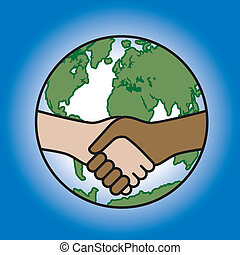 Global Handshake - Vector illustration of a handshake across...