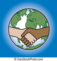 Global Handshake - Vector illustration of a handshake across...