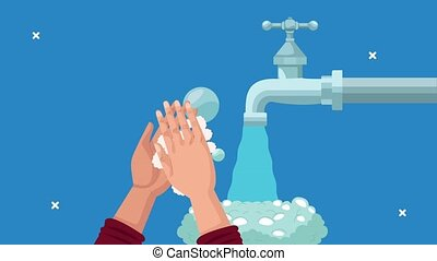 global handwashing animation with hands and foam in faucet ,4k video animated