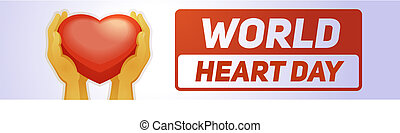 Global heart day banner horizontal, cartoon style