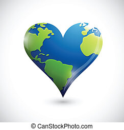 global heart illustration design