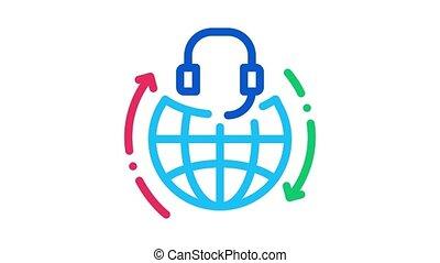 global help desk hotline Icon Animation. color global help desk hotline animated icon on white background