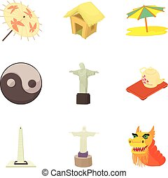 Global history icons set, cartoon style
