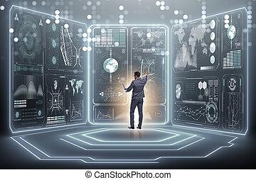global, hombre de negocios, concepto, empresa / negocio
