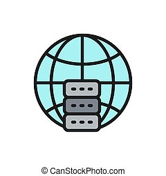 Global hosting server, data centr flat color line icon.
