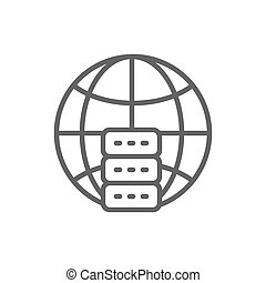 Global hosting server, data centre line icon.