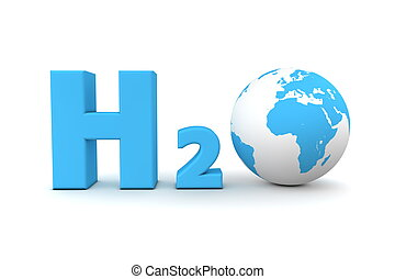 chemical symbol H2O for hydrogen oxide in light blue - a globe is replacing the letter o