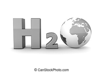 Global Hydrogen Oxide H2O - Shiny Grey
