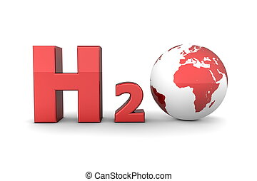 Global Hydrogen Oxide H2O - Shiny Red