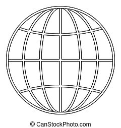 Global icon, outline style.
