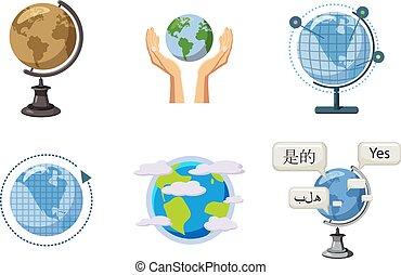 Global icon set, cartoon style