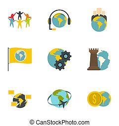 Global icon set, flat style