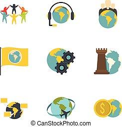 Global icon set, flat style