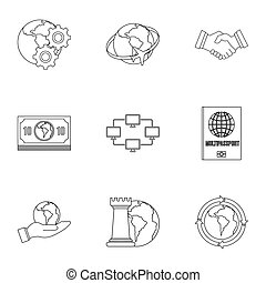 Global icon set, outline style