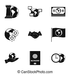 Global icon set, simple style