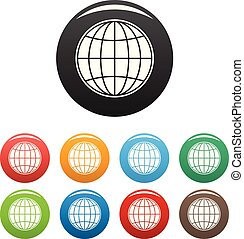 Global icons set color vector