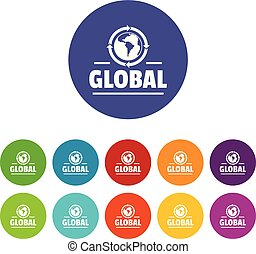 Global icons set vector color