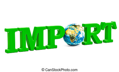 Global import concept, green inscription with Earth Globe. 3D rendering