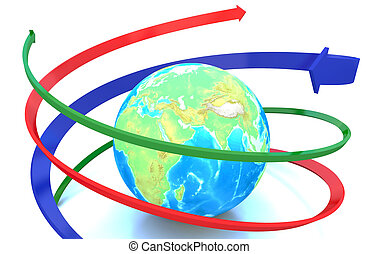 Global in arrows circle sign