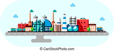 Global industrial factory technology process with ecology concept. Flat illustration of manufacturing buildings. Smart factory industry 4.0 Cartoon style