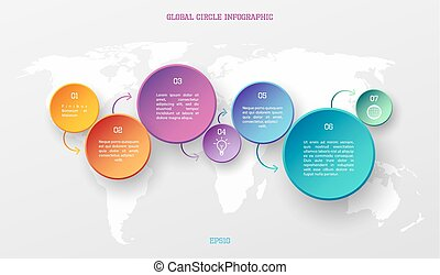 Global infographic concept - World map with colorful circle...