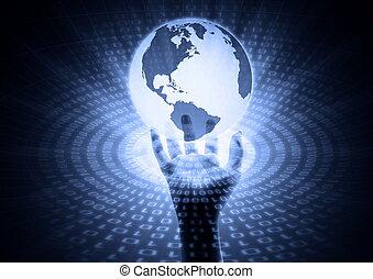 global, informação, em, mão