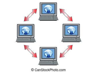 global, informatique, vecteur, réseau, illustration