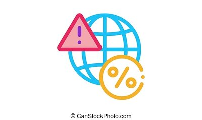 global interest warning Icon Animation. color global interest warning animated icon on white background