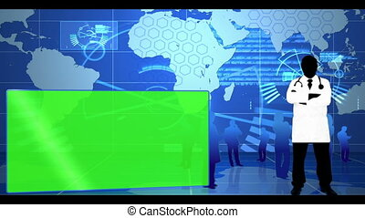 global, interface, bleu, monde médical