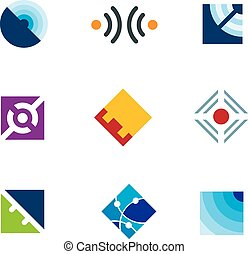 Global internet connection simple cube design template logo...