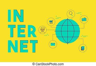 global, internet, social, média, réseau, concept