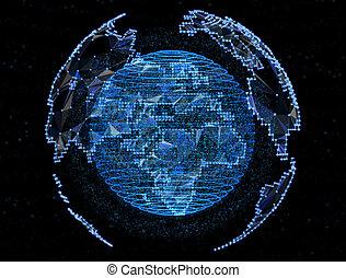 global, internet, télécommunications, planète, numérique, réseaux