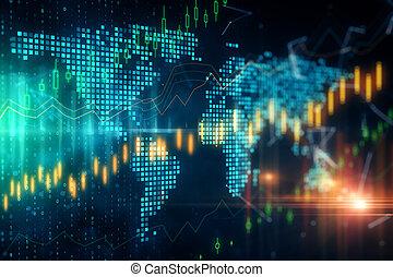 global, investir, concept, commercer