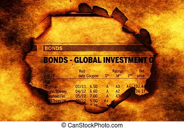Global investment text on paper hole