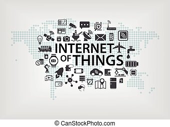 Global IOT background with world - Internet of things (IOT)...