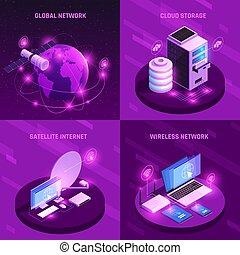 global, isométrique, concept, conception, réseau