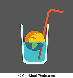 Global Issue: Drying out the Planet. Half Dead Planet Earth in Half Empty Glass of Water with Straw.
