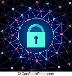 Global IT security protection concept. Web background with closed padlock and lines connecting dots.