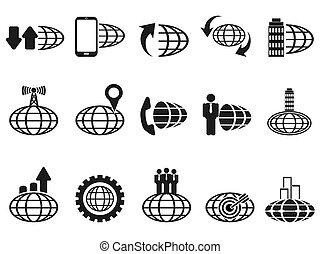 global, jogo, pretas, ícones negócio