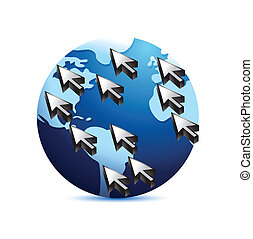 global kommunikation, begreb, illustration
