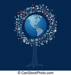 global kommunikation, begreb, teknologi, træ
