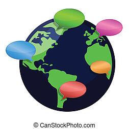 global kommunikation, illustration