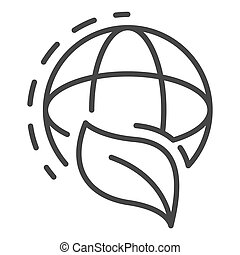 Global leaf icon, outline style