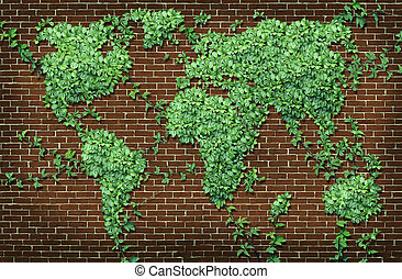 Global leaf map in the shape of growing green vine plant on a red brick wall as a world concept of network connections with the Americas and Europe and Africa Asia Australia attached through natural branches.