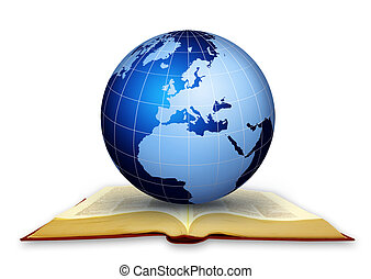 Global library Global education concept working..